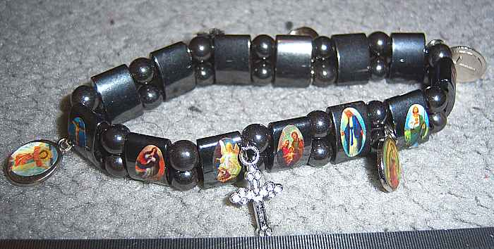 Hematite Catholic Saints Bracelet