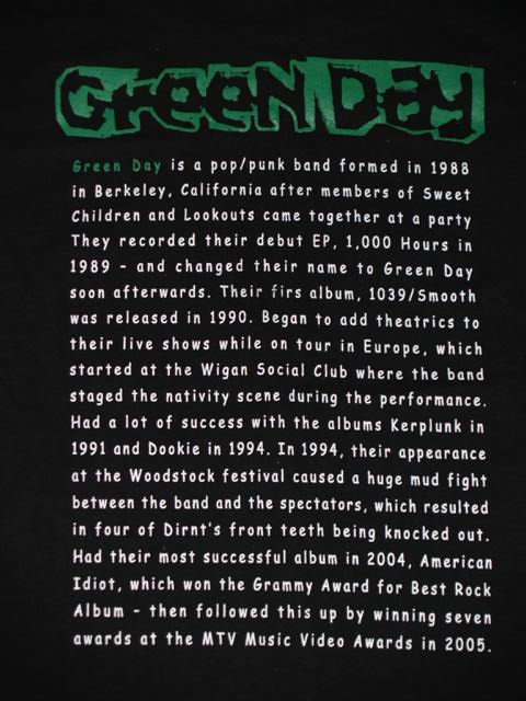 Green Day punk metal tshirt back close-up